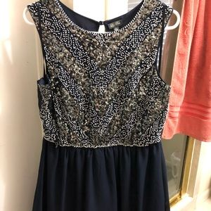 Navy Dress with beading on the top